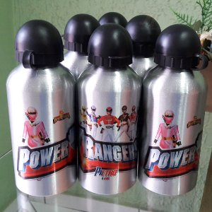 Kit com 05 Squeezes Garrafinha Alumínio 500 ml Personalizadas Power Rangers