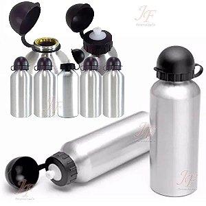 Kit com 10 Squeezes Garrafinhas Alumínio cor Prata 500 ml para Sublimação