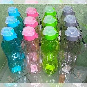 Kit com 12 Squeezes Garrafinhas Plástica 630 ml - Tipo Tupperware - Cores Variadas