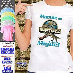 01 Camiseta Adulto Infantil Personalizada Dinossauro