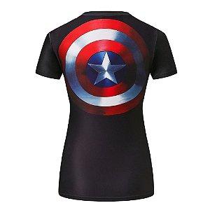 Camiseta Capitã América Com Escudo Respirável Feminina Compressão Fitness  zoom bb8fd616b9417