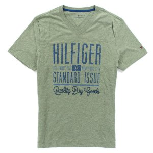 Camiseta Tommy Hilfiger Masculina V-Neck Tee - Light Heather Green