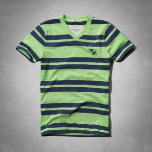 Camiseta Abercrombie & Fitch Masculina Algoquin Tee - Light Green Stripe