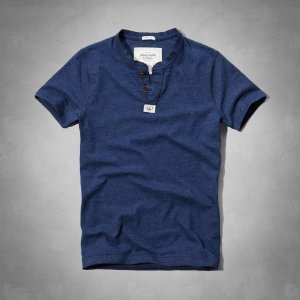 Camiseta Abercrombie & Fitch Masculina Connery Pond Henley - Heather Navy