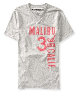 Camiseta Aéropostale Masculina Malibu Graphic V-Neck - Heather Grey
