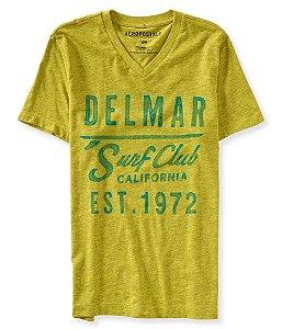 Camiseta Aéropostale Masculina Delmar V-Neck - Lime Zinger