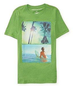 Camiseta Aéropostale Masculina Surf Chick - Pea Green