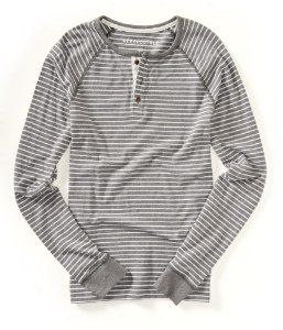 Manga Longa Aéropostale Masculina Long Sleeved Henley Striped - Med Grey