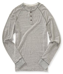 Manga Longa Aéropostale Long Sleeved Henley Marled - Light Grey
