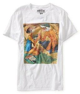 Camiseta Aéropostale Masculina Shark Heads Tee - White