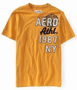 Camiseta Aéropostale Masculina NY Crest - Yellow