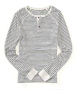 Manga Longa Aéropostale Masculina Long Sleeved Henley Stripe - White