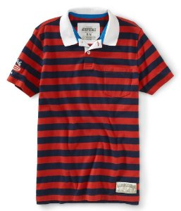 Polo Aéropostale Masculina Surf Chasers California - Red Stripes