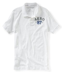 Polo Aéropostale Masculina Jersey N87Y Crest - Bleach