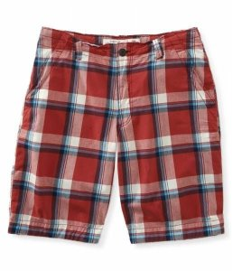Bermuda Aéropostale Masculina Flat-Front Plaid - Sunbaker Red