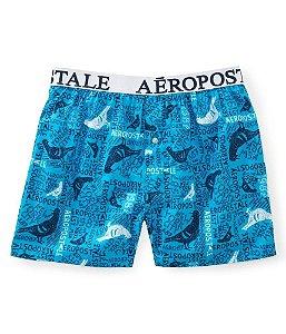 Cueca Aéropostale Masculina Pigeon Logo Woven Boxer - Blue