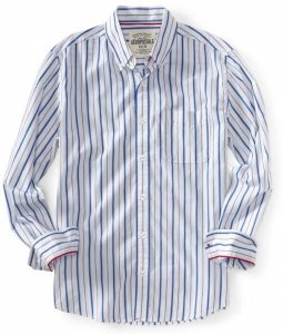 Camisa Aéropostale Masculina Striped Woven Shirt - Bleach
