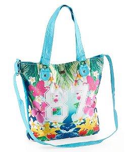 Bolsa Aéropostale Feminina Floral 87 Canvas Tote - Turquoise