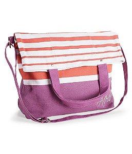 Bolsa Aéropostale Feminina Striped Fold-Over Canvas Tote - Red Purple