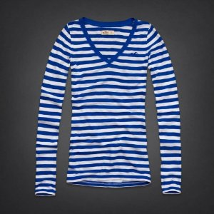 Manga Longa Hollister Feminina Beacons Beach - Blue Stripe