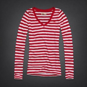 Manga Longa Hollister Feminina Beacons Beach - Red Stripe