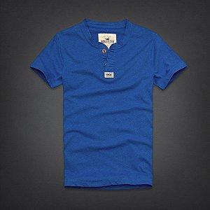 Camiseta Hollister Masculina Rockpile Henley - Blue