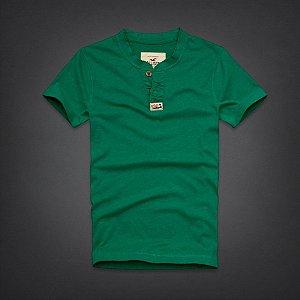 Camiseta Hollister Masculina Rockpile Henley - Green