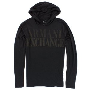 Manga Longa Armani Exchange Masculina Hoodie Long Sleeve Tee - Black