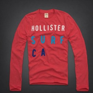 Manga Longa Hollister Masculina Bluebird Beach - Red