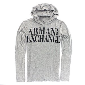 Manga Longa Armani Exchange Masculina Hoodie Long Sleeve Tee - Grey