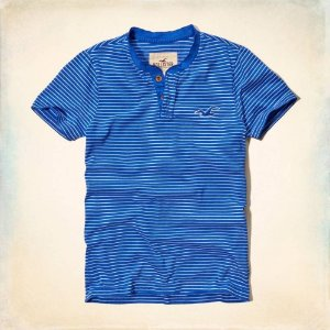Camiseta Hollister Masculina Embarcadero Henley - Blue Striped