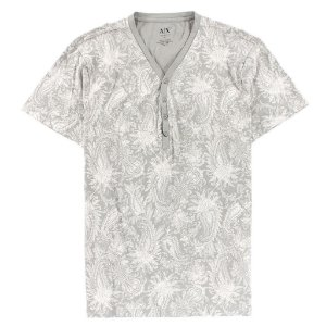 Camiseta Armani Exchange Masculina Printed Henley - Alloy Grey