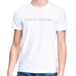 Camiseta Armani Exchange Masculina Reflective Logo Neck Crew - White