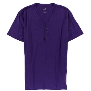 Camiseta Armani Exchange Masculina Solid Henley - Dark Amethyst