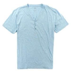 Camiseta Armani Exchange Masculina Solid Henley - Light Blue