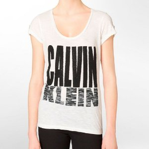 Camiseta Calvin Klein Feminina Caviar Logo Roll Up - White