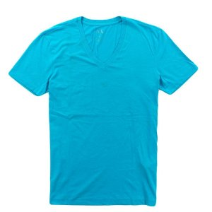Camiseta Armani Exchange Masculina V-Neck Tee - Acqua Coral