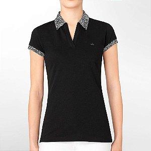 Polo Calvin Klein Feminina Printed Collar Piquet - Black