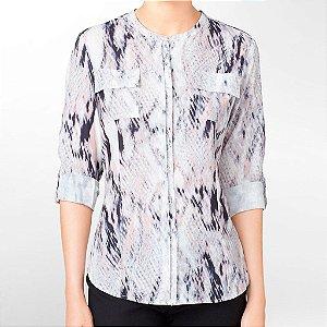 Camisa Calvin Klein Feminina Printed Mandarin Collar Blouse - Ivory