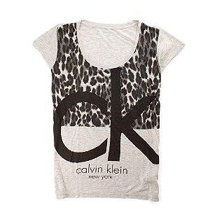 Camiseta Calvin Klein Feminina Printed Scoopneck - Grey