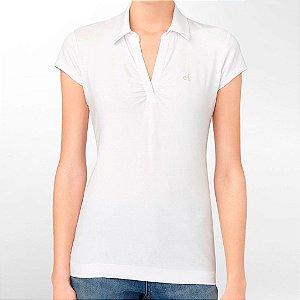 Polo Calvin Klein Feminina Ruched - White