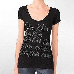 Camiseta Calvin Klein Feminina Scoopneck Metallic - Black