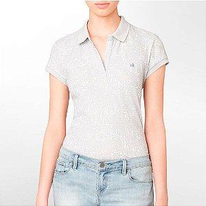 Polo Calvin Klein Feminina Spotted Print Piquet - Grey