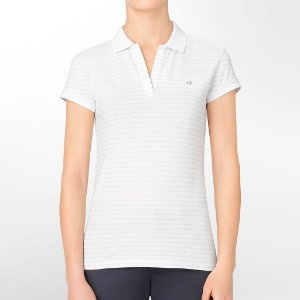 Polo Calvin Klein Feminina Striped Piquet - White