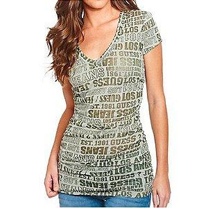 Camiseta Guess Feminina Jojo Logo Burnout Tee - Vintage Green