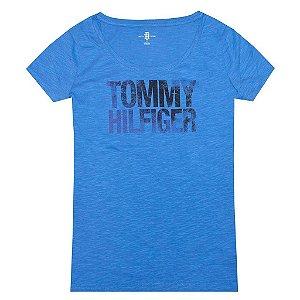 Camiseta Tommy Hilfiger Feminina Fashion Crew Neck - Blue