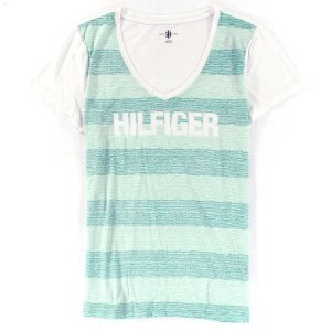 Camiseta Tommy Hilfiger Feminina Fashion V-Neck Big Logo - Green Stripe
