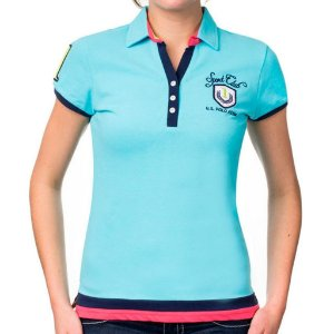 Polo U.S. Polo Assn. Feminina Color Block - Maui Blue