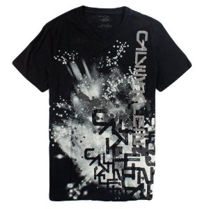 Camiseta Calvin Klein Masculina Abstract V-Neck Tee - Black