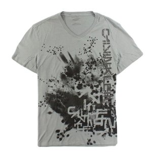 Camiseta Calvin Klein Masculina Abstract V-Neck Tee - Grey